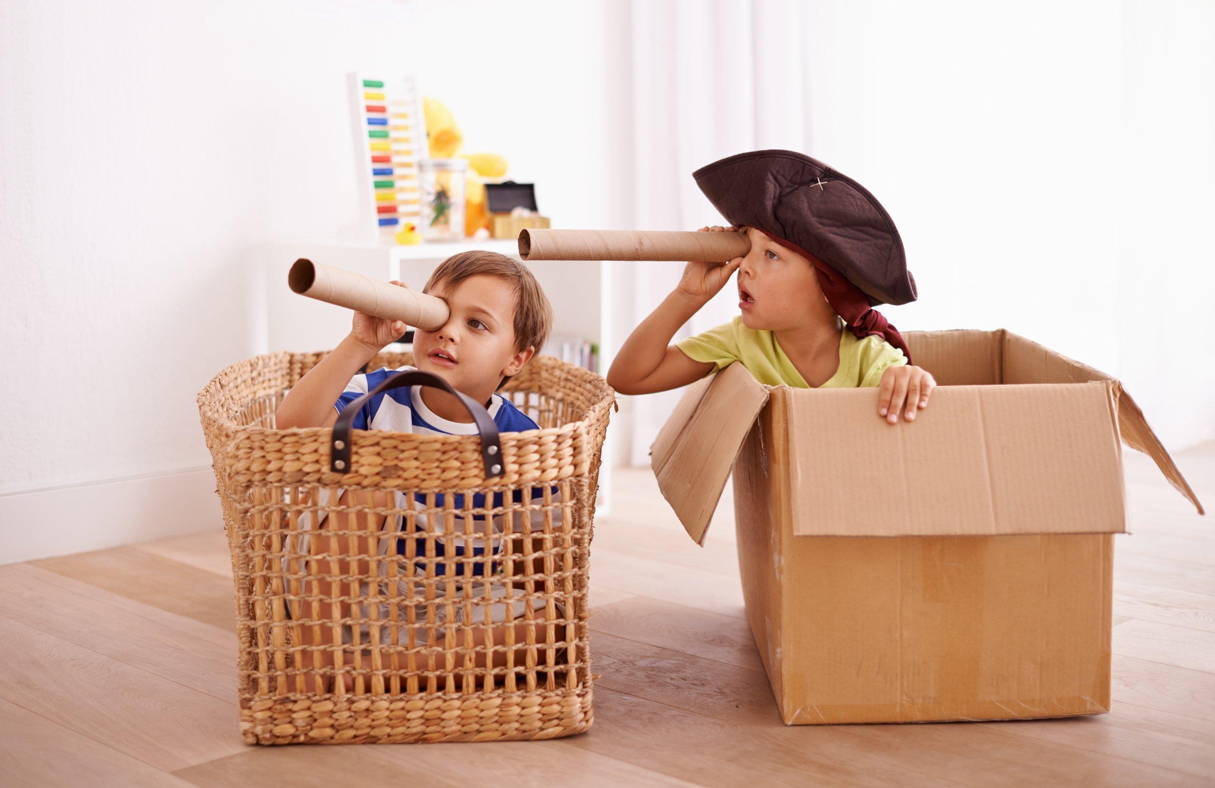 Happy kids playing pirates